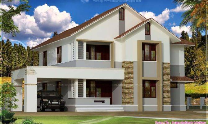 Simple Sloping Roof House Elevation Kerala Home Design House Plans 166962