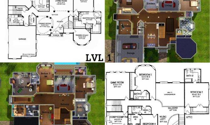 Sims Mansion Floor Plans Also House Blueprints Moreover