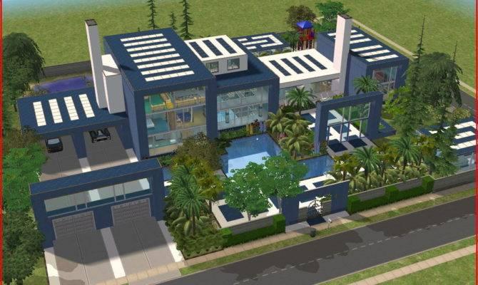 Sims Modern Blue Mansion Ramborocky Deviantart