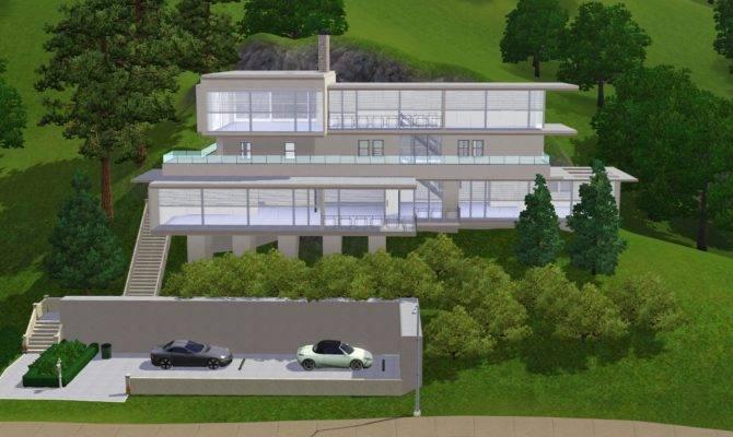Sims Modern House Blueprints Hillside