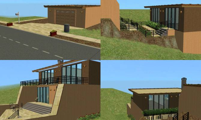 Sims Simple Modern Multi Level House Hollywood Hills Style