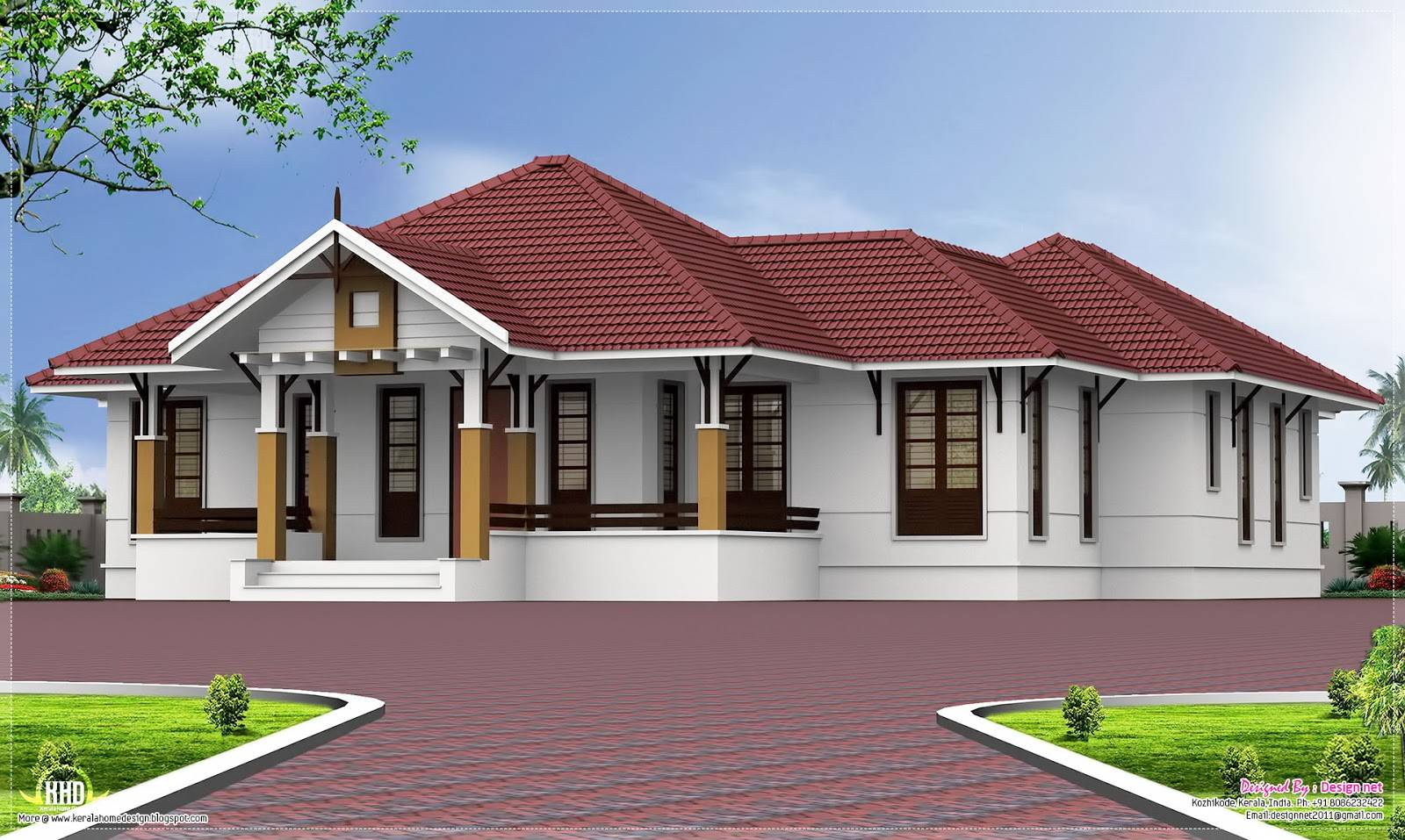 Single Floor Bedroom Home Courtyard Kerala Design House Plans 48770