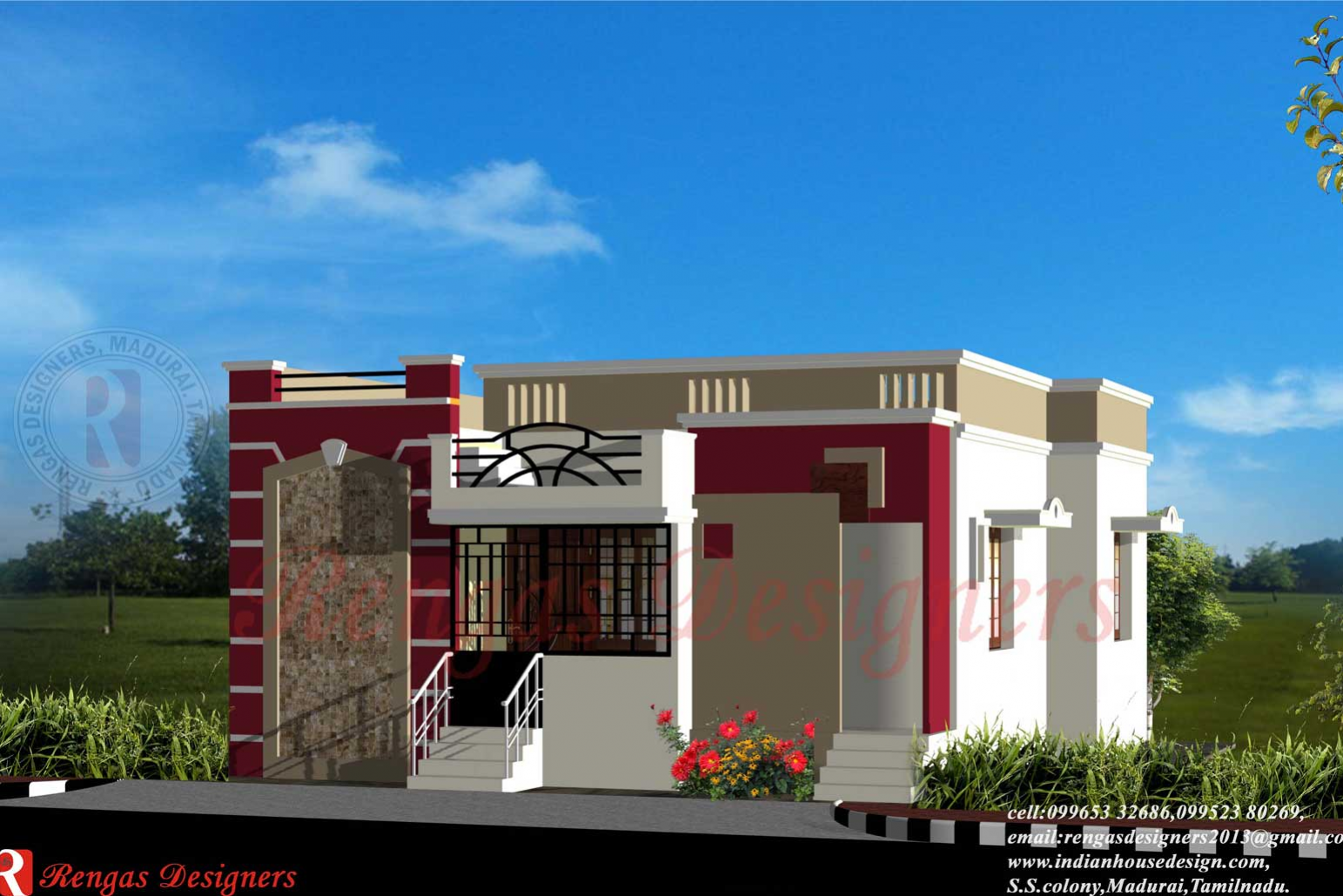 Single Floor House Front Design Simple One Story Houses - House Plans | #89172