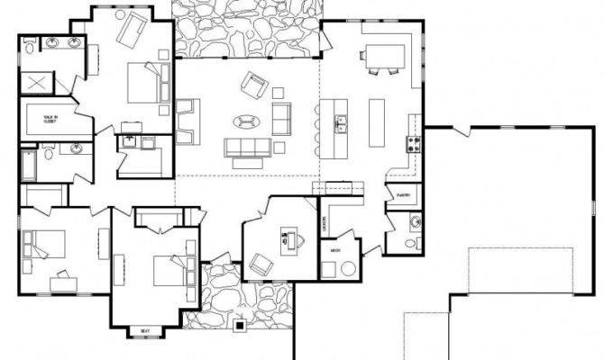 Single Level Home Plans House