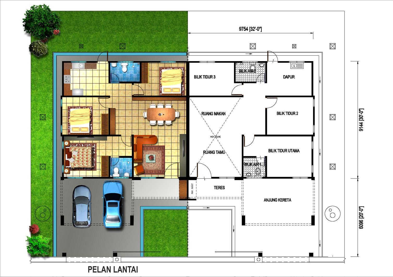 Single Storey Semi Detached Unit House Plans 42412
