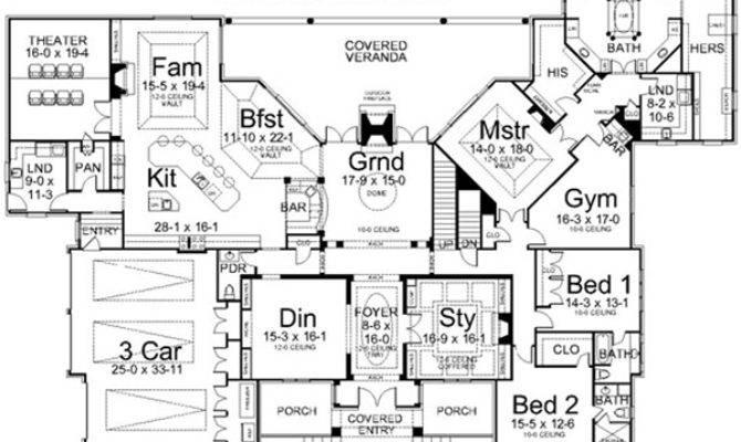 Single Story Luxury House Plans Smalltowndjs