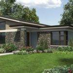 Single Story Modern House Plans Stone Facade Large Windows