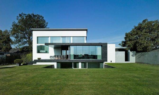 Sleek Modern White Split Level House Design Home