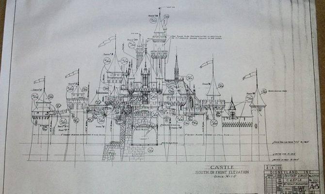 Sleeping Beauty Castle Front Elevation Blueprint Disneyland
