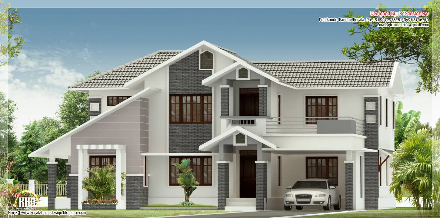 Sloped Roof House Elevation Kerala Home Design Floor Plans House Plans 81277