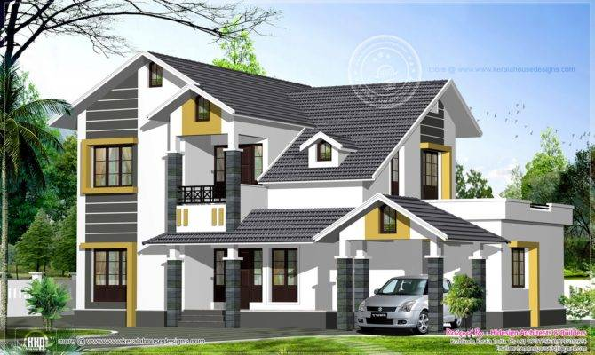 Sloping Roof Home Exterior Feet Kerala Design