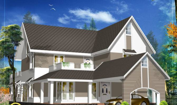 Sloping Roof House Design Indian Home Decor