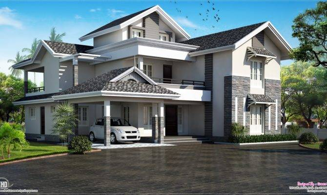 Sloping Roof House Villa Design Kerala Home Floor Plans