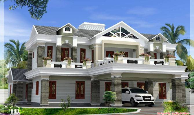 Sloping Roof Mix Luxury Home Design Kerala