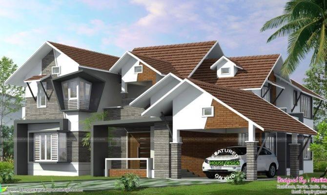 Sloping Roof Ultra Modern Home Kerala Design