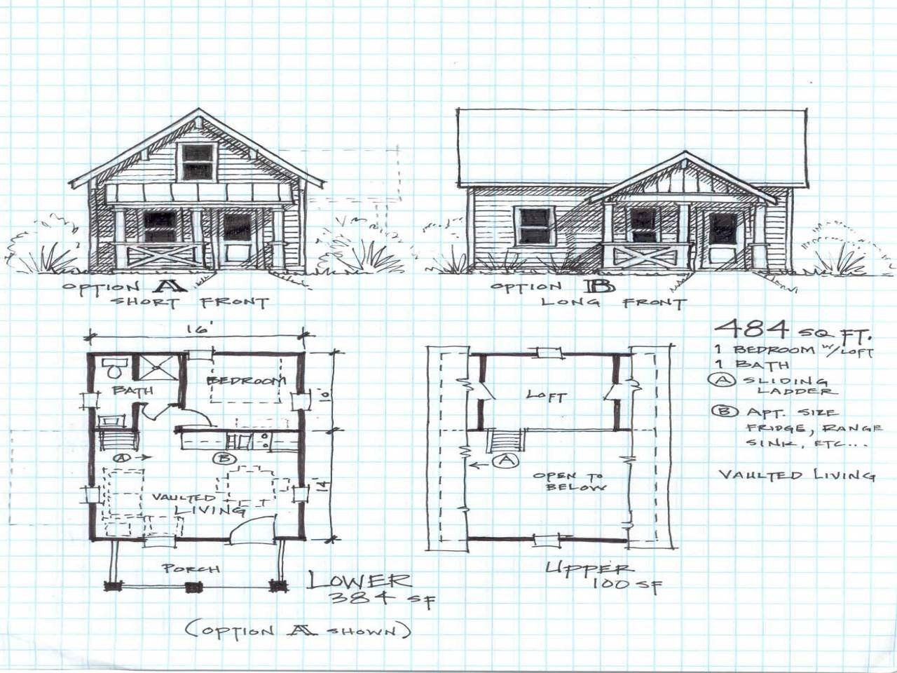 Small Cabin Floor Plans Loft Cottage - House Plans | #15877