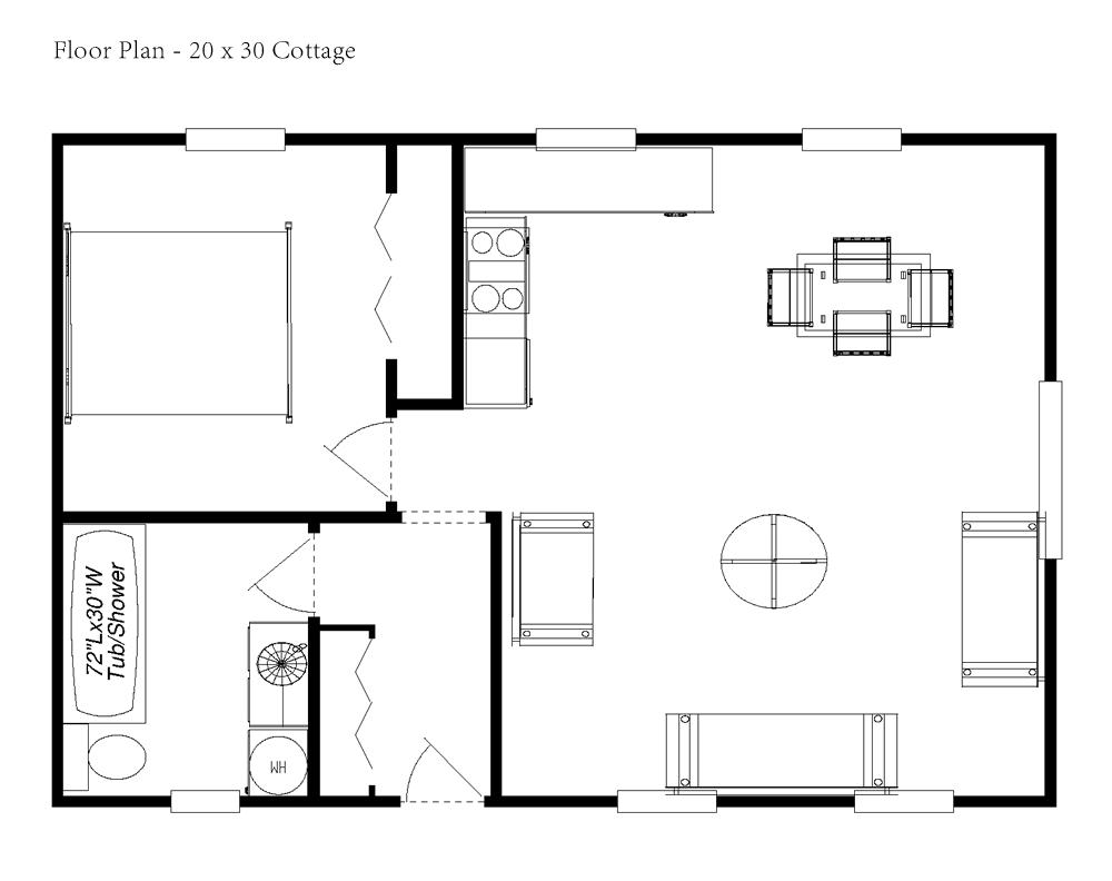 Small Cottage Floor Plan Loft Designs House Plans 1908