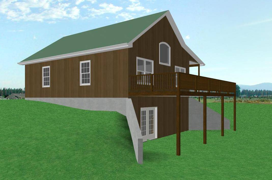 Small Country Cabin House Plan Walkout Basement House Plans 13201