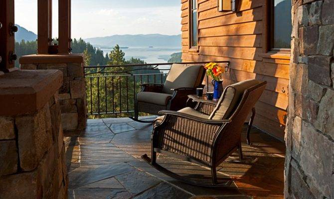 Small Covered Front Porch Mountain Lake Views
