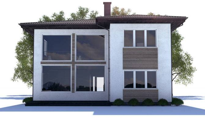 Small House Plan High Ceiling Large Windows