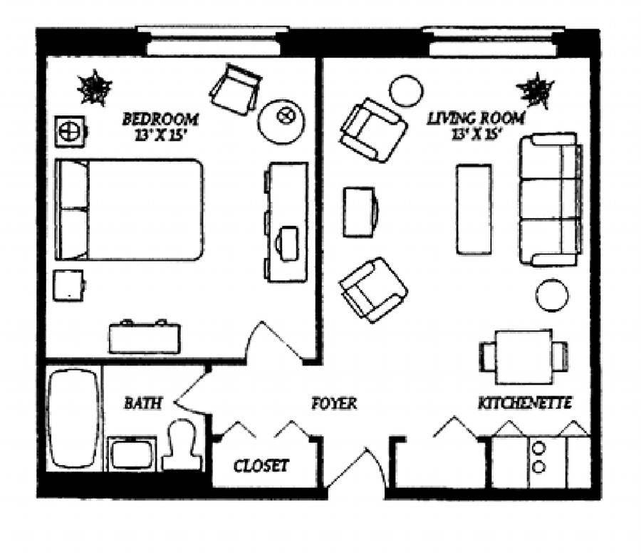 Small Studio Apartment Floor Plans Our One Bedroom House Plans 123950,Hanging Curtains From Ceiling With Command Hooks