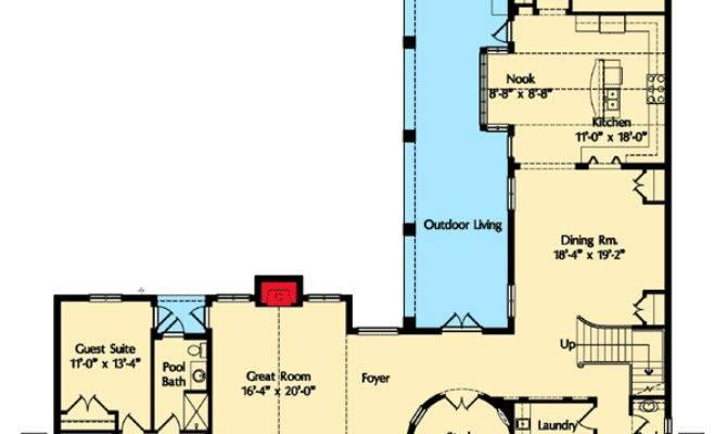 Spanish Courtyard Home Plan Architectural