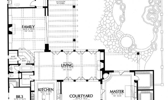 Spanish Hacienda House Plans Courtyard