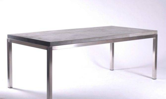 Spectacular Dining Table Desk Solid Concrete Slab Top