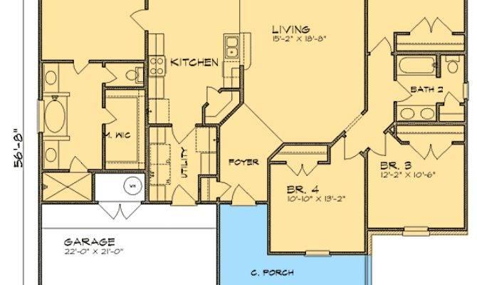 Split Bedroom Ranch House Plan Floor