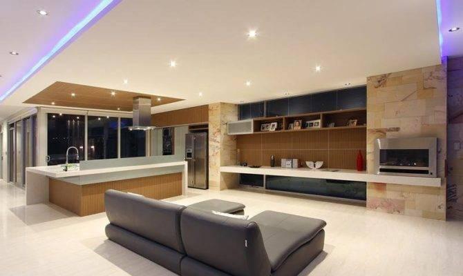 Split Level Living Room Using Beige Colours Laminate