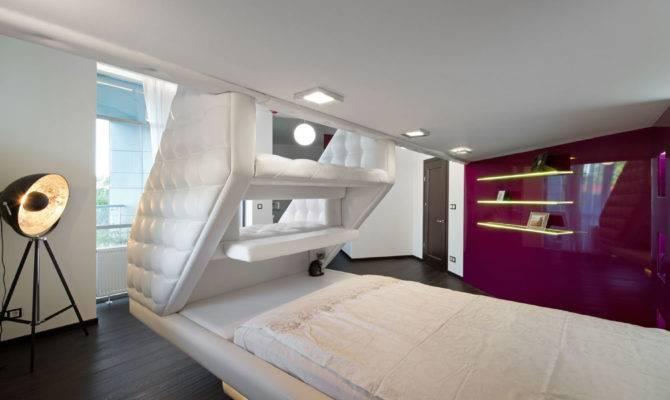 Split Level Plush Futuristic Retro Bedroom White Red Feature