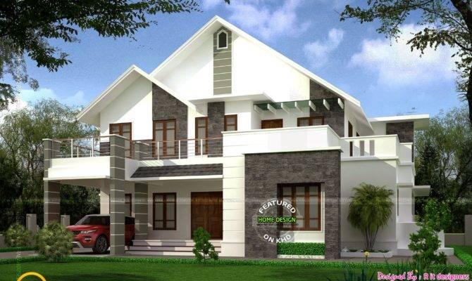 Square Feet Sloped Roof Villa Kerala Home Design