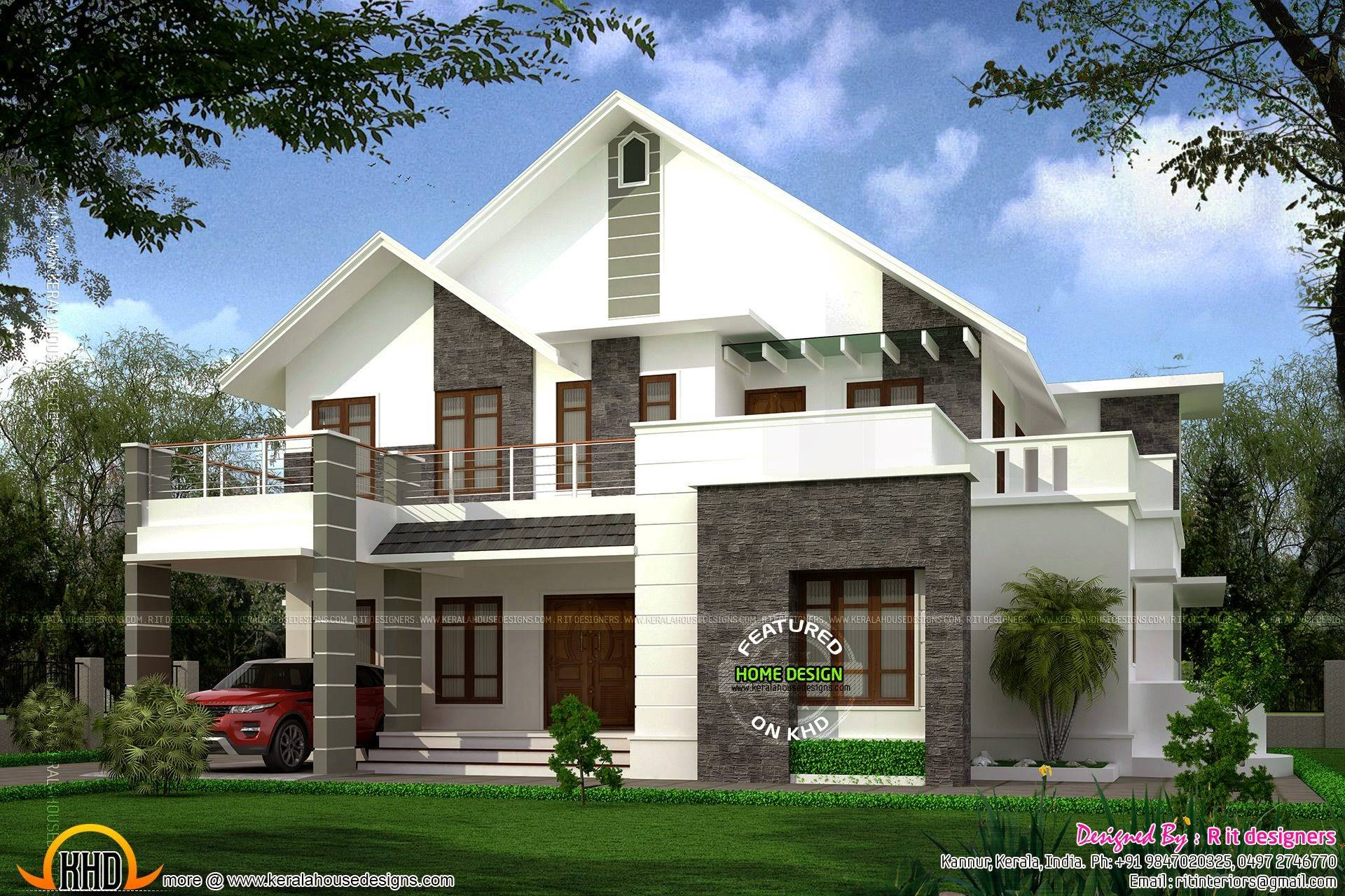 Square Feet Sloped Roof Villa Kerala Home Design House Plans 166965