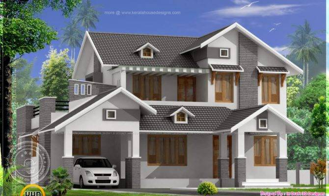 Square Feet Sloping Roof Home Kerala Design House Plans 95362