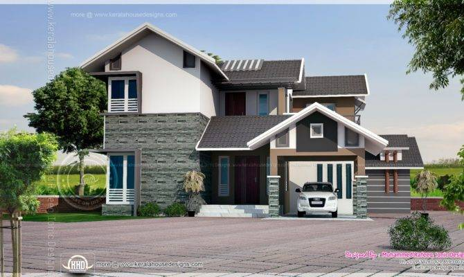 Square Feet Sloping Roof House Elevation Indian