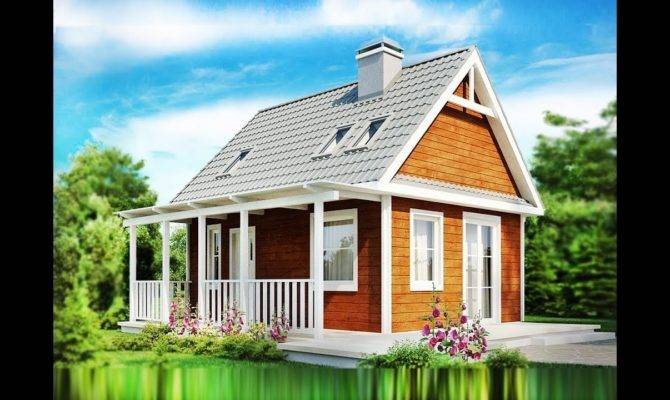 Square Feet Small Cozy House Has Veranda