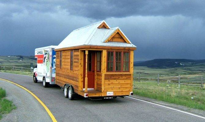 Square Foot Fencl Tiny House Being Pulled Small Truck