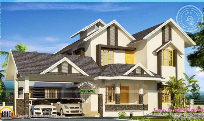 Square Meter Sloping Roof Villa Kerala Home Design Floor