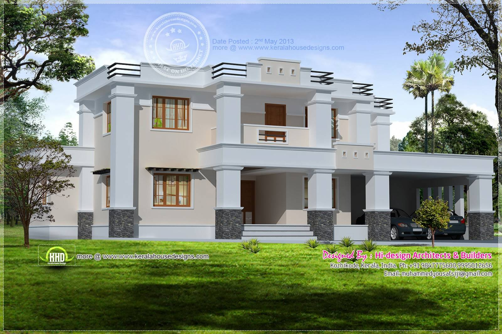 Square Roof Home Elevation Feet Kerala Design House Plans 53532