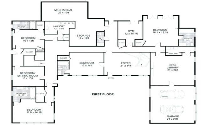 Square Shaped House Plans Single Story Two Wings Odd