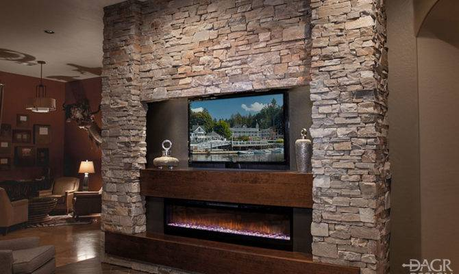 Stacked Stone Media Wall Design Dagr