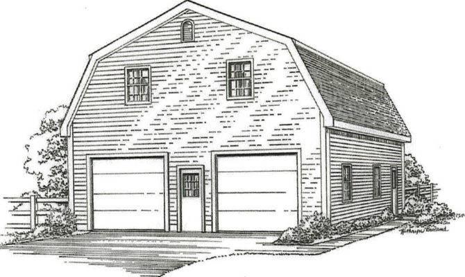 Stall Gambrel Garage Building Blueprint Plans Lft Ebay