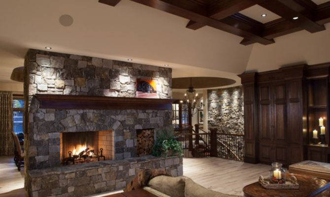 Statement Fireplace Floor Ceiling Stone Rustic