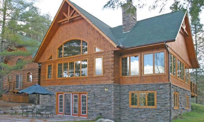 Stone Accents Used Log Homes Home