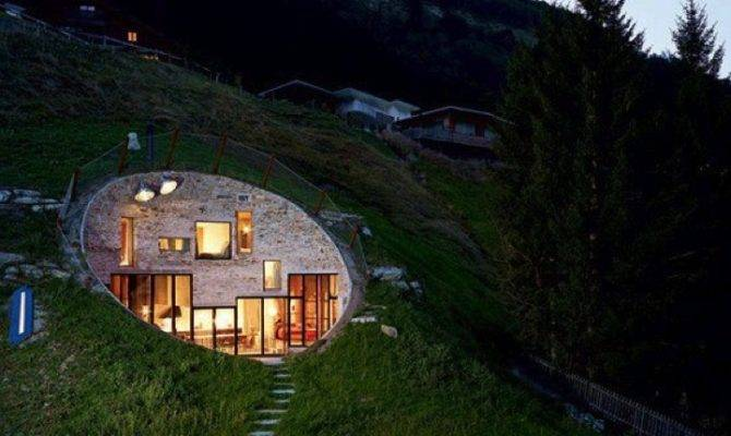 Stone Faced Concave Earth House Night Buildings Pinterest