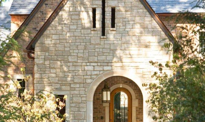Stone Home Exterior Arched Front Door