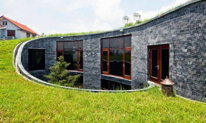 Stone House Grass Roof Central Garden Modern