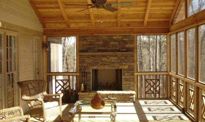 Stone Outdoor Fireplace Screened Porch