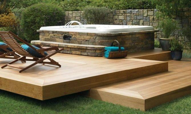 Stone Surround Decks Ideas Floating Deck Design