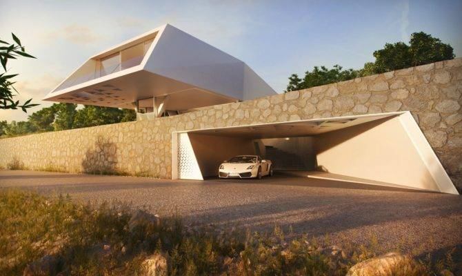 Stone Wall Entrance Modern Holiday House Greece Interior
